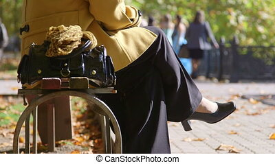 Senior women sitting on a park bench