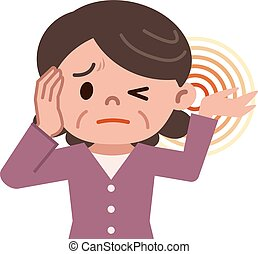 Senior women suffering from tinnitus - Vector illustration. ...