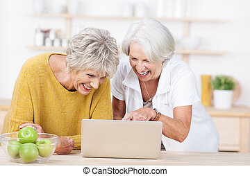 Senior women surfing the internet - Two vivacious attractive...