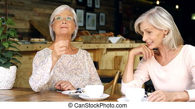Senior women talking to each other in cafe 4k