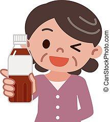 Senior women with tea pet bottle