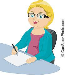 Senior Writing - Illustration of a Businesslike Elderly...