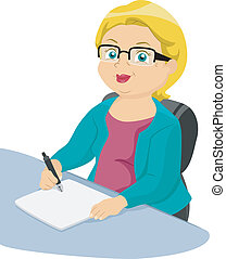 Illustration of a Businesslike Elderly Woman Writing on a Piece of Paper