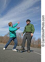 Senior w/skateboard