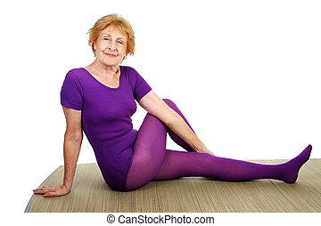 senior, yoga, -, böjlig
