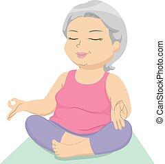 Senior Yoga - Illustration Featuring an Elderly Female Doing...