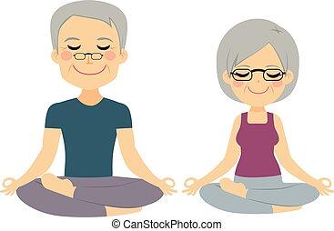 senior, yoga, paar