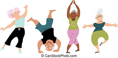 Senior yoga - Senior people doing yoga, EPS 8 vector cartoon...