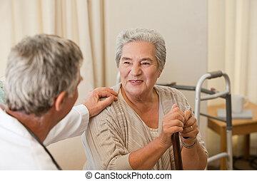 senior, zijn, klesten, arts, patiënt