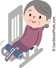 seniore vrouwen, het uitoefenen, fitness