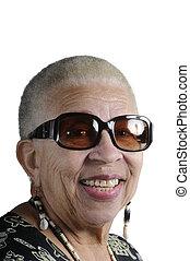 senioren, afrikanische amerikanische frau