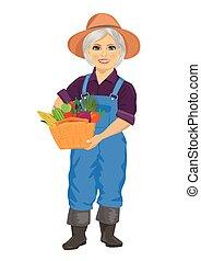 senioren, weibliche , gärtner, tragen, overalls, besitz,...