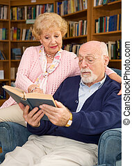 seniores, apreciar, leitura