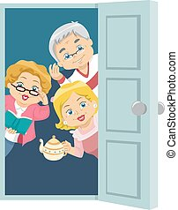 seniores, casa, convidar