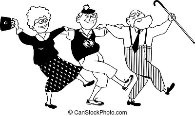 seniores, clip-art, feliz
