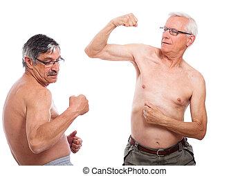 seniores, comparar, músculos
