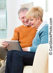 seniores, computador lar, tabuleta