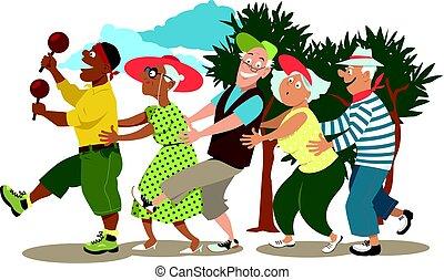 seniores, conga, dançar