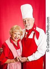 seniores, cozinheiro, junto