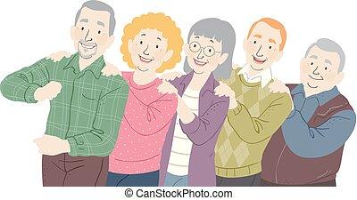 seniores, dança, conga, ilustração
