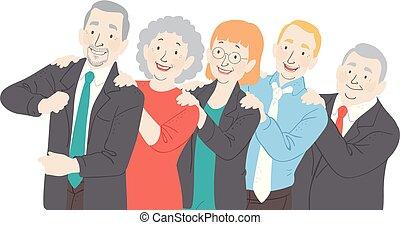 seniores, dança, escritório, conga, ilustração