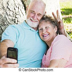 seniores, -, divertimento, auto-retrato