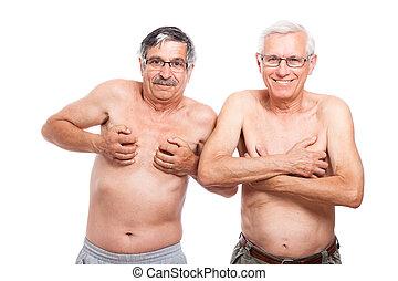 seniores, ENGRAÇADO, mostrando, corporal