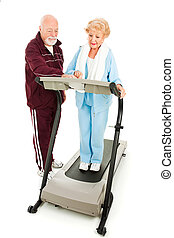 seniores, exercício, junto