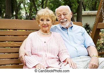 seniores, feliz, balanço