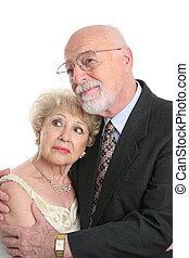 seniores, futuro, preocupado, rosto