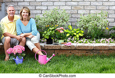 seniores, jardinagem