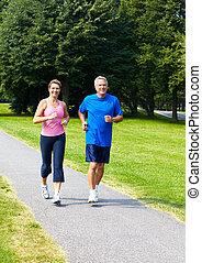 seniores, jogging., par