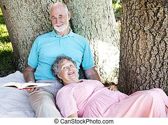 seniores, leitura, junto