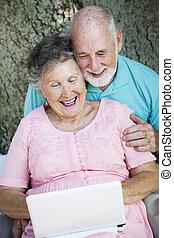 seniores, ligar, netbook