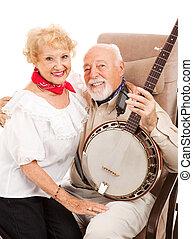 seniores, país, banjo