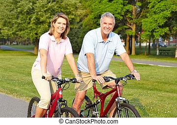 seniores, par, biking