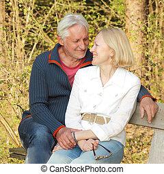 seniores, par, parque, idoso, feliz