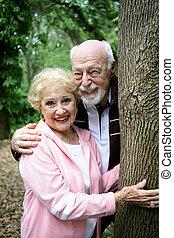 seniores, parque, feliz