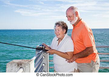 seniores, pesca, junto