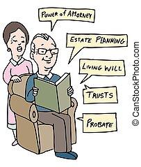 seniores, planificação, propriedade, pesquisa