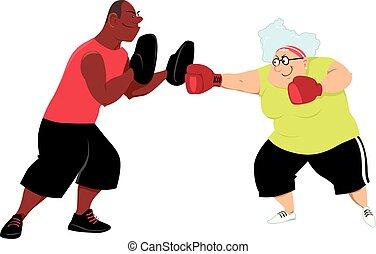 seniores, prática, boxe