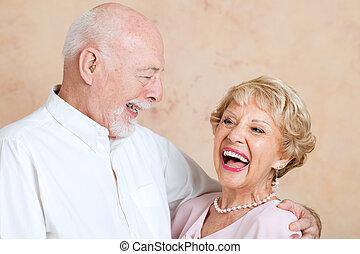 seniores, rir, junto