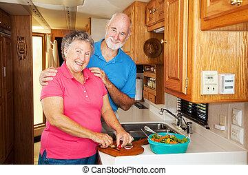seniores, rv, -, junto, cozinhar