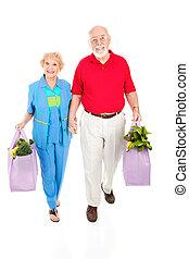 seniores, sacolas, shopping, reutilizável