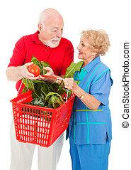 seniores, shopping, junto