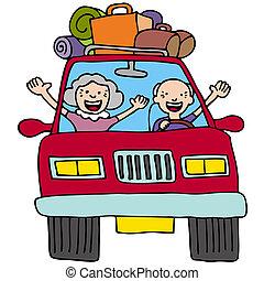 seniores, viagem, estrada