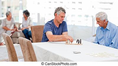 seniores, xadrez jogando