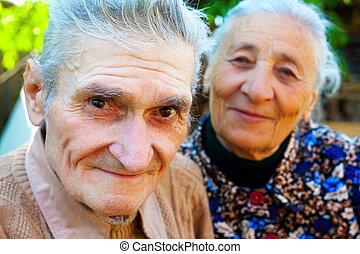 seniors, öreg, párosít, -, két, boldog