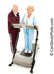 seniors, övning, tillsammans