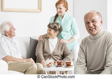 seniors, главная, уход, smiled